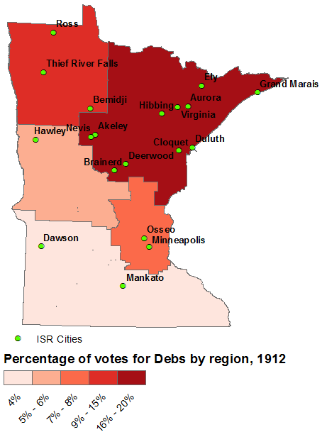 A choropleth showing five Minnesota regions depending on how many votes Debs got.