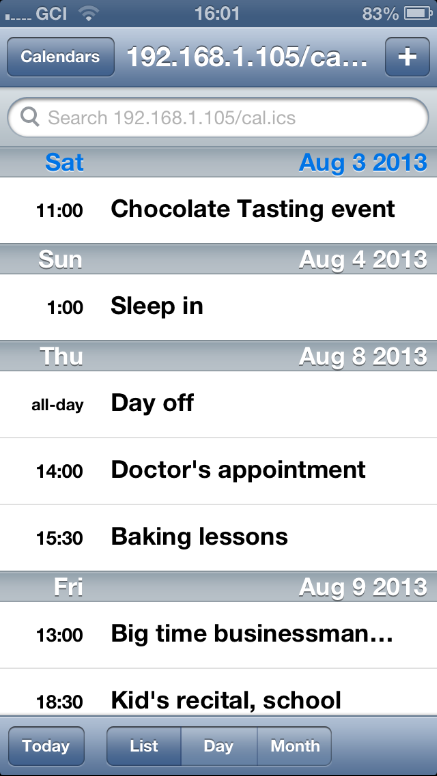 calcurse calendar on the iphone by way of ics subscription