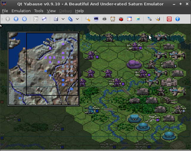 A screenshot of Iron Storm's strategic map. It is overlaid on top of the normal game map in a corner and has almost no detail. Units are represented as square blocks on a very small grid. Cities, bridges, and objectives are not indicated.