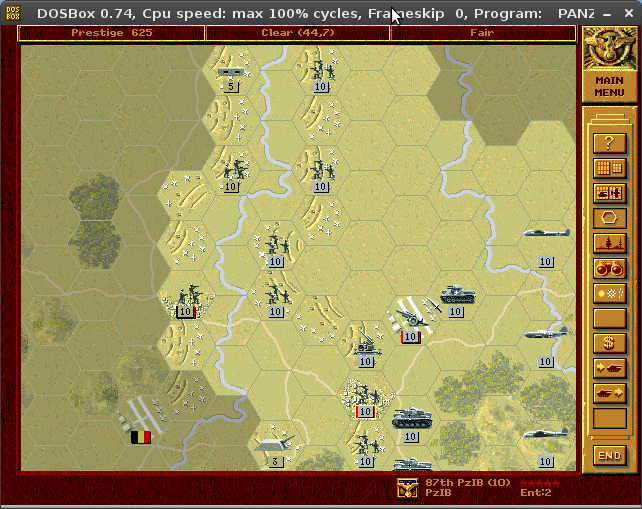 A screenshot of Panzer General. The graphics are high resolution, have much detail, and the enemy armies' icons are facing each other on the map.
