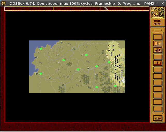 A screenshot of Panzer General's strategic map. It is its own window, distinct from the normal gameplay map, and shows roads, cities, rivers, objectives, forests, and fog of war.