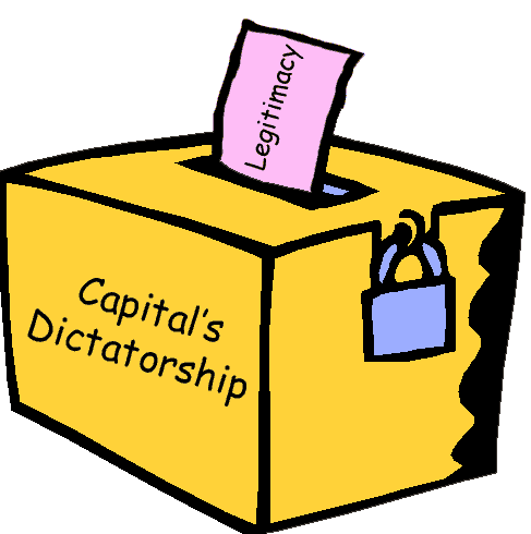 An illustration of a ballot box; the ballot reads legitimacy and the box says Capital's Dictatorship.